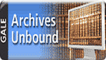 Archives unbound logo. Computer with books on the screen