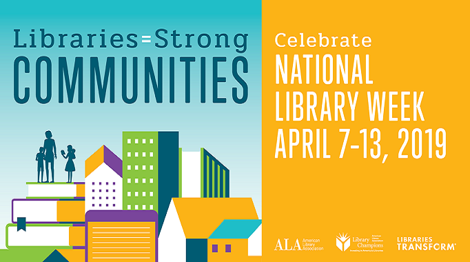 National library week buildings, books and people
