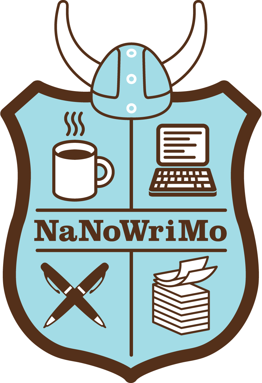 NaNoWriMo logo- shield with coffe cup, computer, pen, paper and helmet with horns