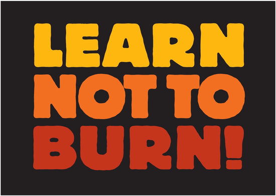 "Tri-color ""Learn Not To Burn"" logo for fire prevention programming"