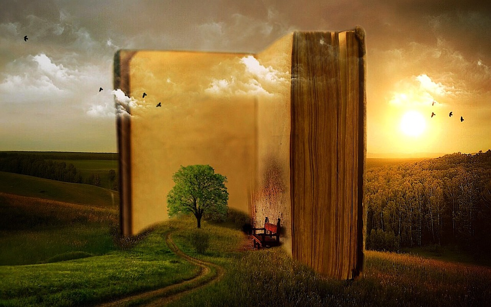 fantasy scene with tree growing in book in front of sunset