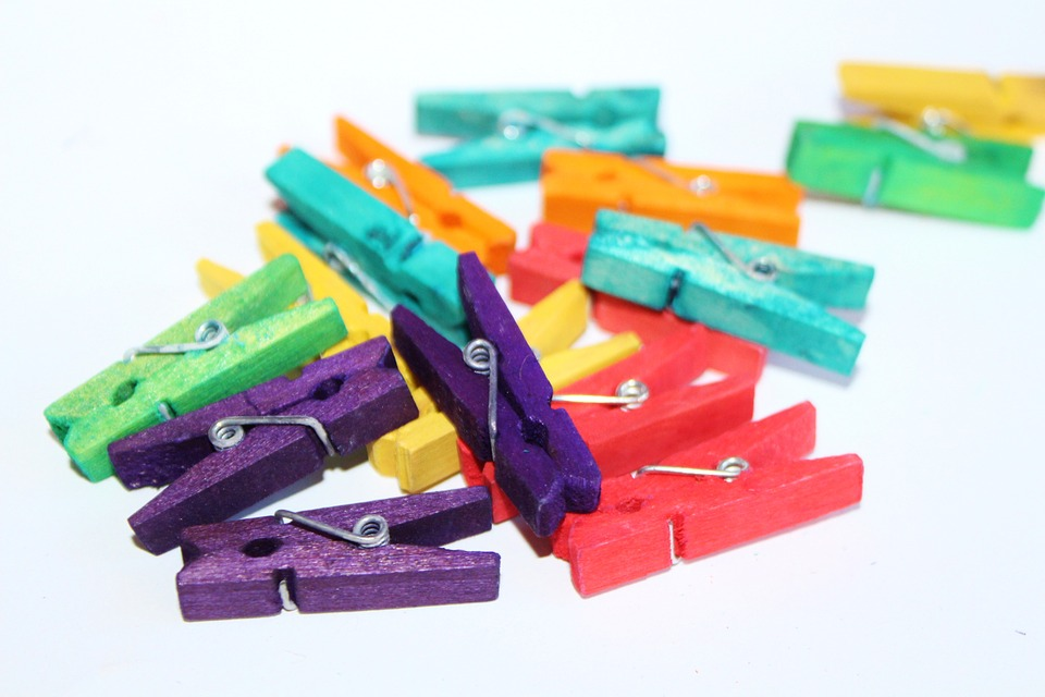 multicolored clothespins