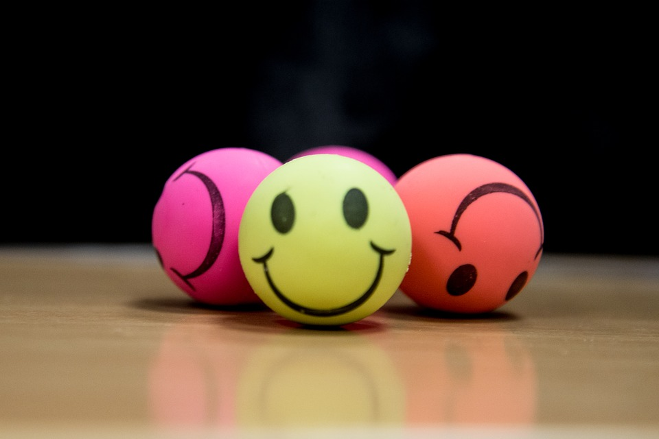 Colorful balls with smiley faces
