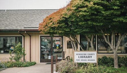 fort bragg library outside view with tree