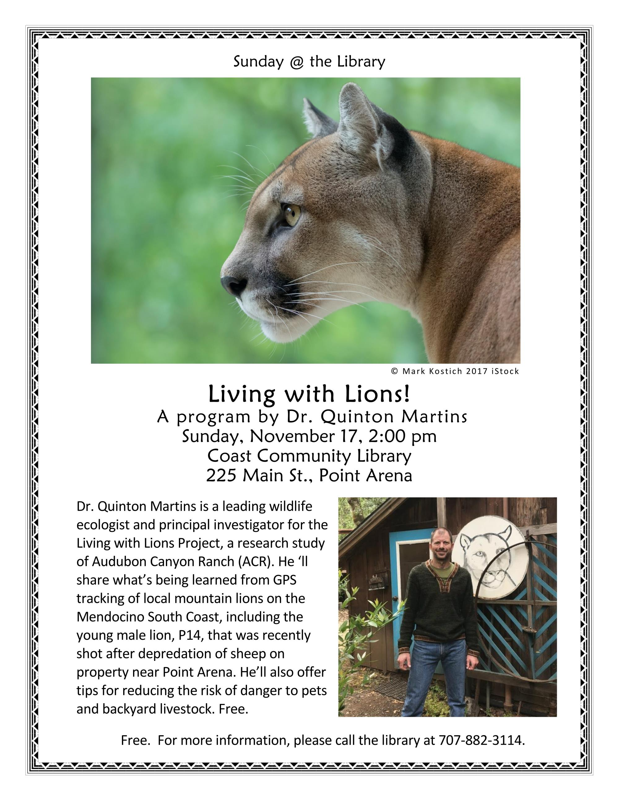 Living with Lions - Sunday @ the Library