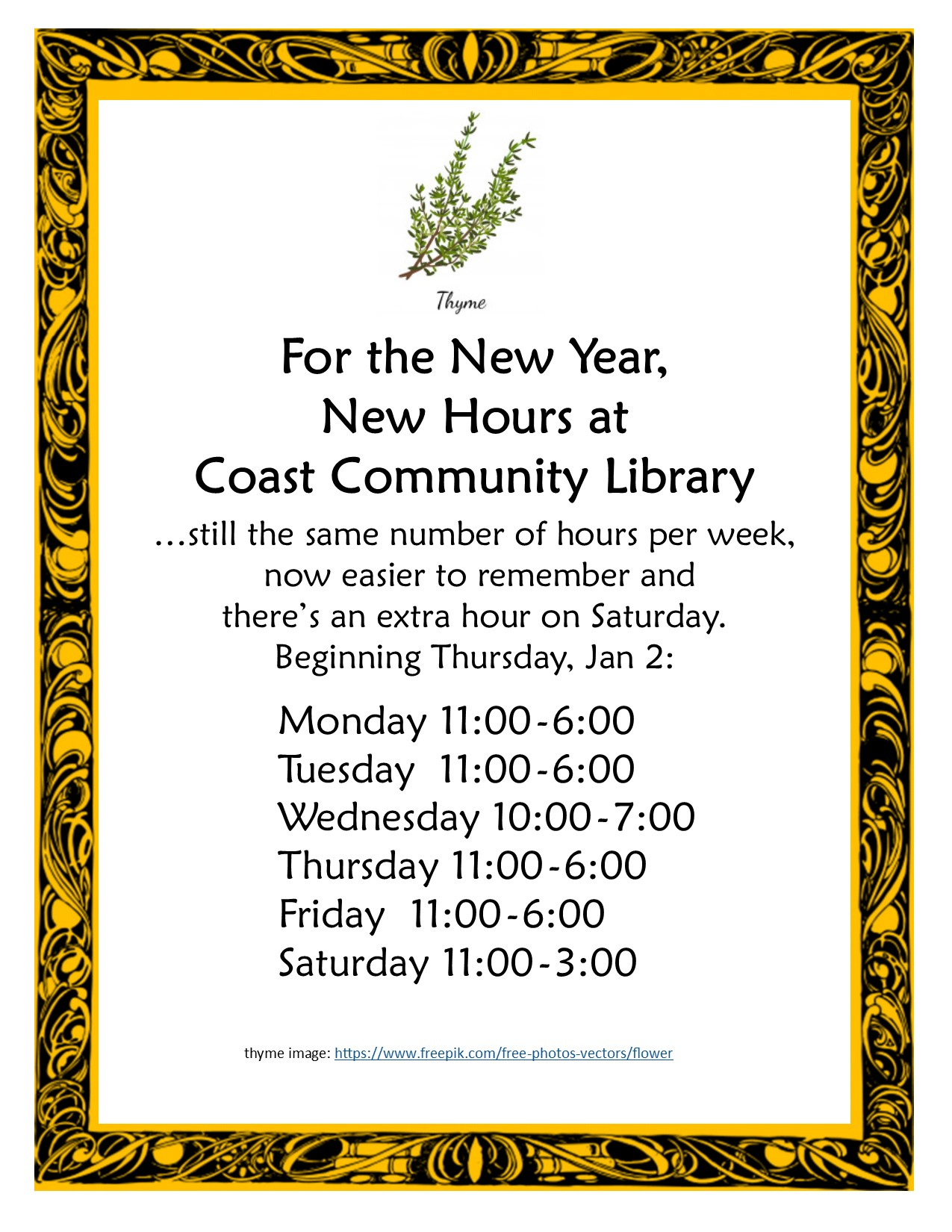 new hours @ Coast Branch pic