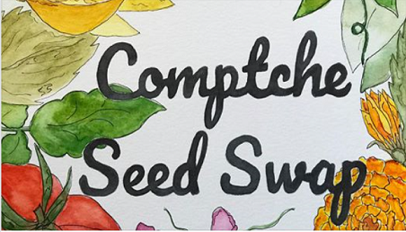 comptche seed swap- set against pictures of berries, corn and peas