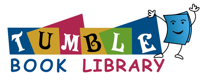 tbl_logo- Tumble Book Library with blue book with arms and legs