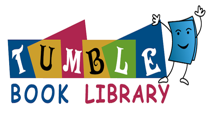 Tumble Book Library with smiling blue book
