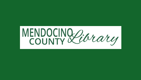 mendocino County Library logo whit on green