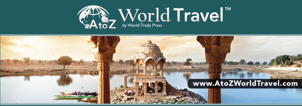 A to Z world travel- picture of ancient ruins on a river