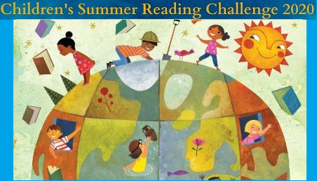 srp cms banner- children's summer reading challenge 2020 - kids exploring the earth, with flying books and a smilling sun