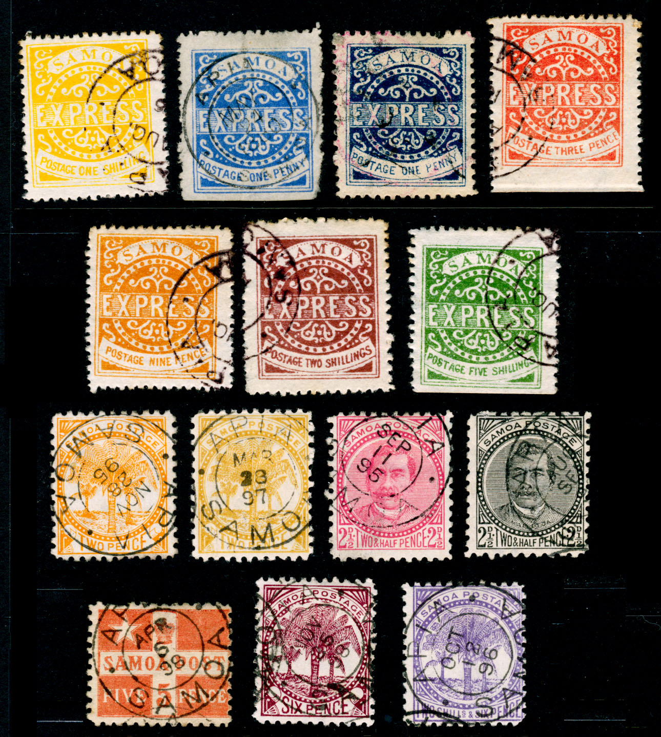 varied stamps on a black background